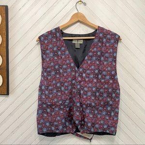Vintage Geometric Print Silk Waistcoat Vest